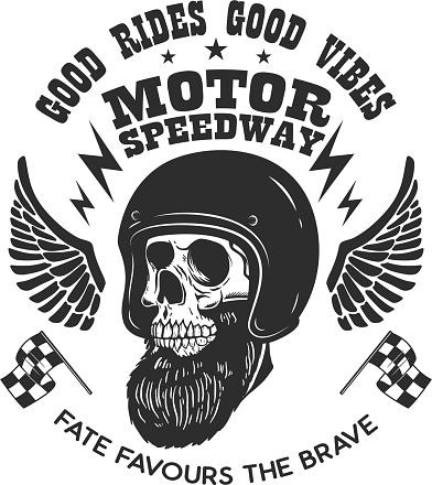 Bearded skull in racer helmet with wings. Design element for label, sign, emblem, poster, t shirt. Vector illustration