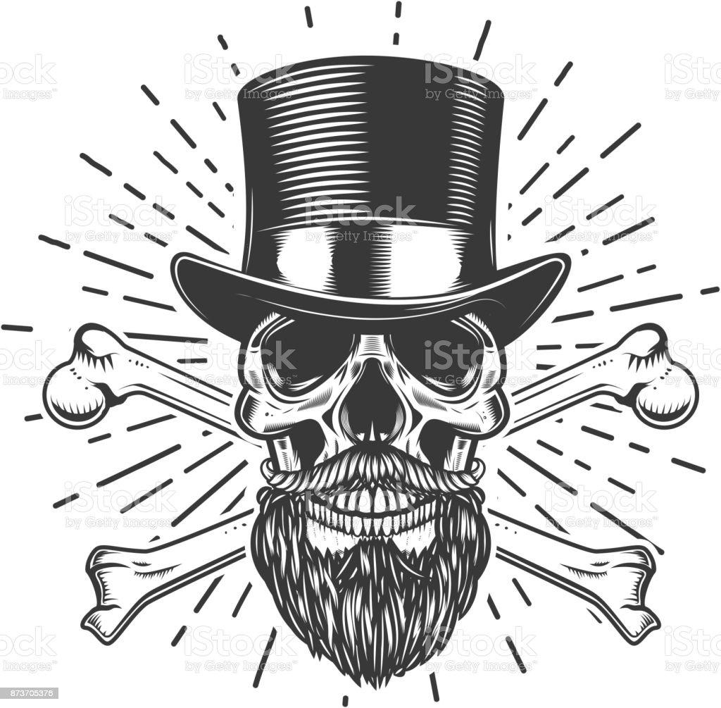 Ilustración de Barbudo Cráneo En Sombrero De La época Huesos ...