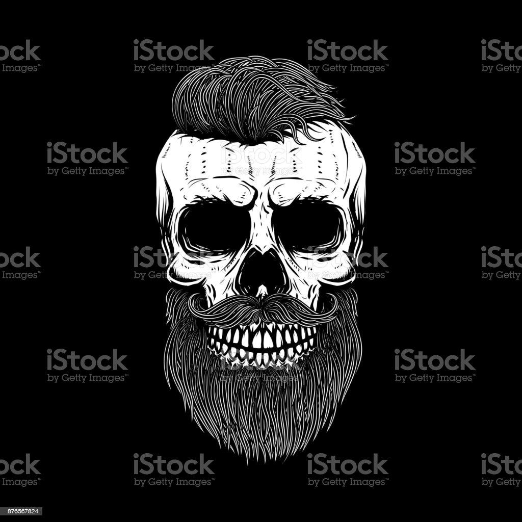Barbudo crânio em fundo escuro. Elemento de design para o cartaz, emblema, t-shirt. Ilustração vetorial - ilustração de arte em vetor