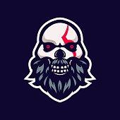 skull eSport Mascot Logo Design Illustration Vector