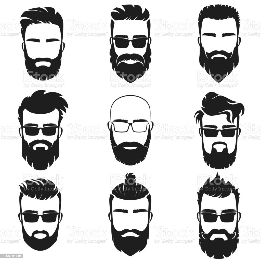 Bearded Stylish Hipster Men Faces With Different Haircuts