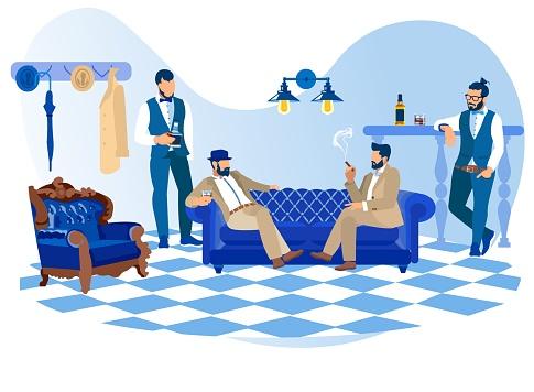 Bearded Stylish Men Smoking Cigars, Drink Alcohol
