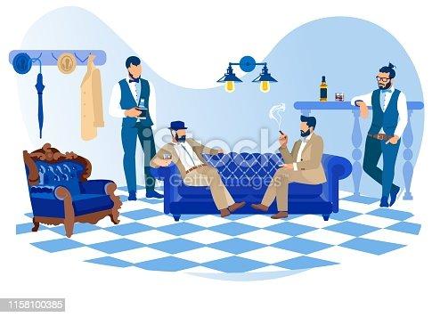 istock Bearded Stylish Men Smoking Cigars, Drink Alcohol 1158100385
