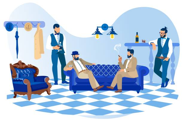 stockillustraties, clipart, cartoons en iconen met gebaarde stijlvolle mannen roken sigaren, alcohol drinken - guy with cigar