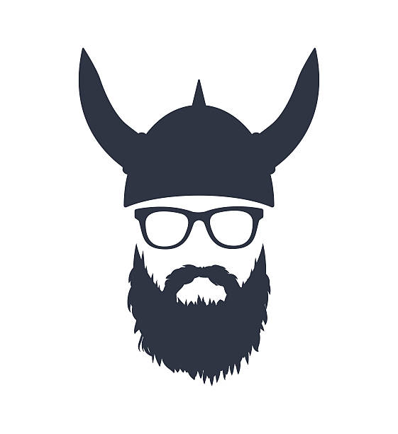 bearded viking with glasses and helmet - old man glasses silhouettes stock illustrations, clip art, cartoons, & icons