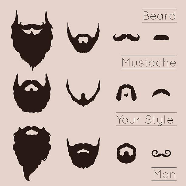 Beards and Mustaches set vector art illustration