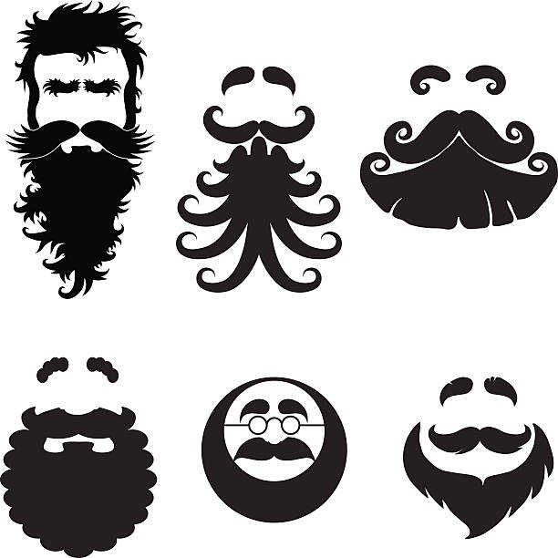 beards - old man glasses silhouettes stock illustrations, clip art, cartoons, & icons