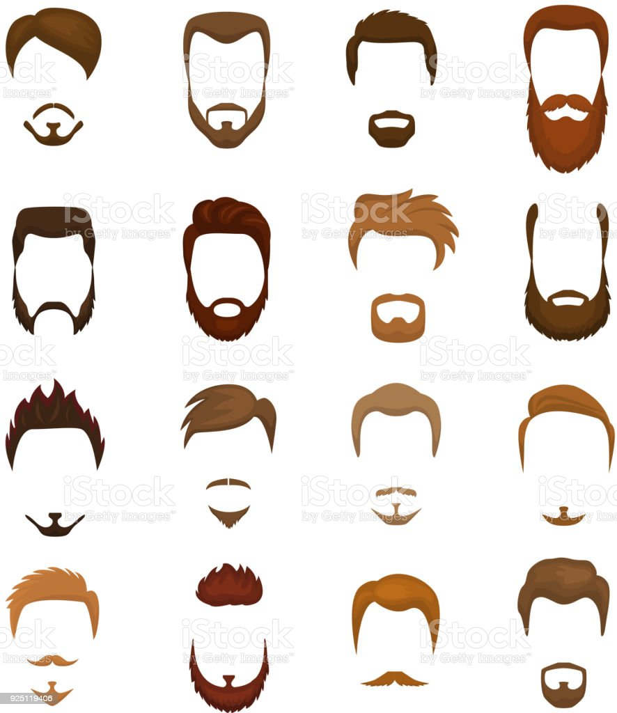 Groovy Beards Vector Portraite Of Bearded Man With Male Haircut In Natural Hairstyles Runnerswayorg