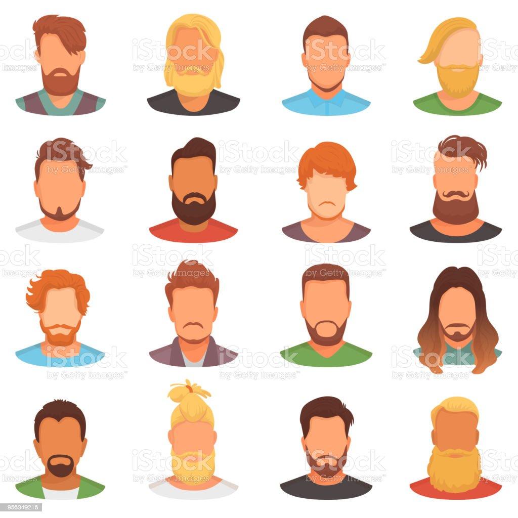 Barbes Vector Portrait Dhomme Barbu Avec Coupe De Cheveux Masculine Dans Le Salon De Coiffure Et De La Moustache Cannele Sur Hipsters Visage Illustration Jeu De Coiffure Coiffeur Isole Sur Fond Blanc