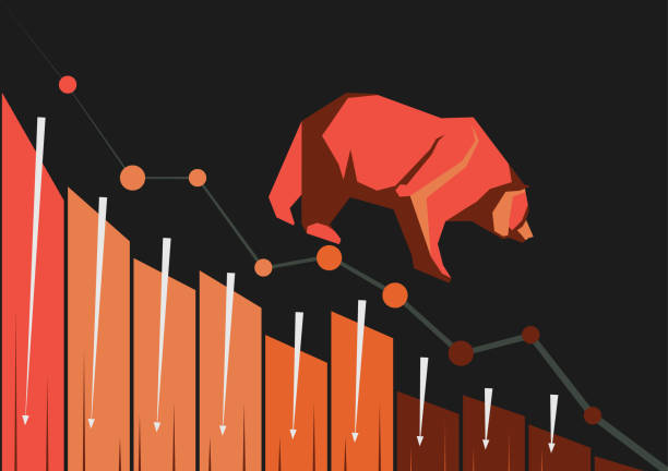 stockillustraties, clipart, cartoons en iconen met bearish markt trend - bearmarkt