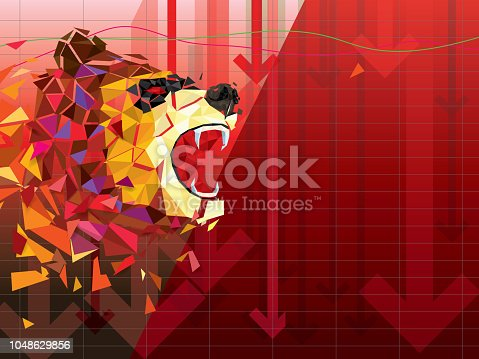 Bearish symbols on stock market vector illustration. vector Forex or commodity charts, on abstract background. The symbol of the the Bear. The stock market down turn