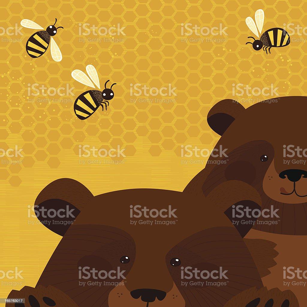 Bears and honey Bears and honey. Bee stock vector