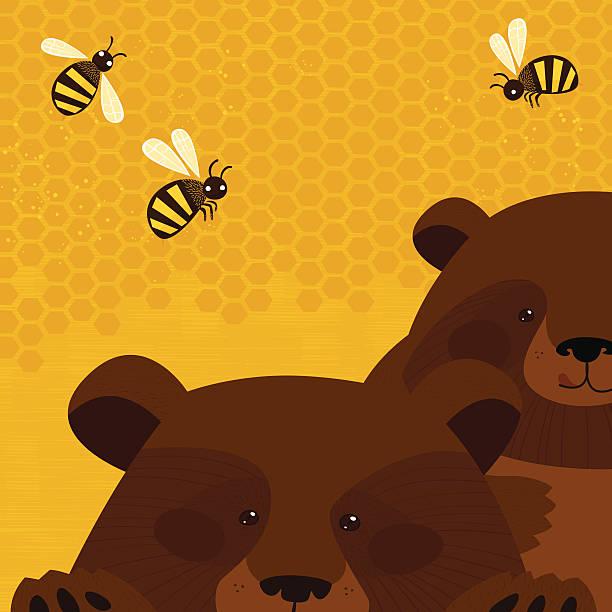 Bears and honey vector art illustration