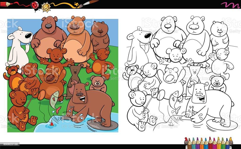 Ilustración de Libro Para Colorear De Osos Personajes Grupo y más ...