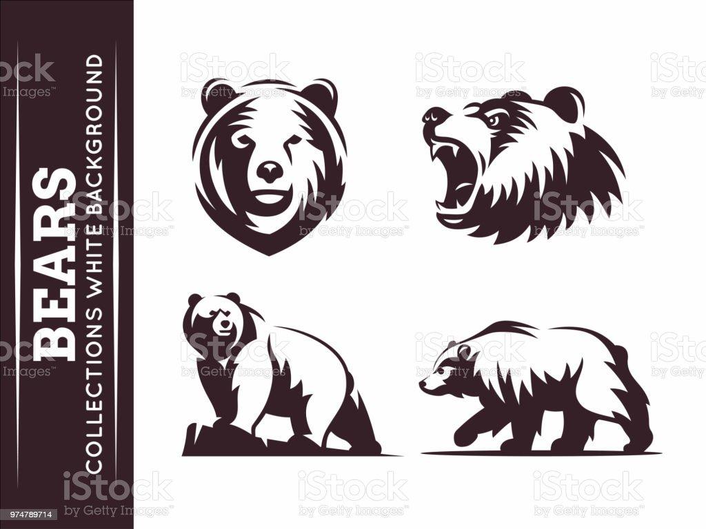 Coleções de ursos - ilustração de arte em vetor