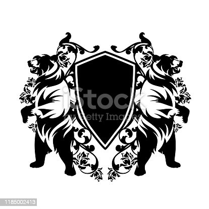 two bears standing up with heraldic shield and rose flowers decor - medieval style black nad white vector coat of arms design
