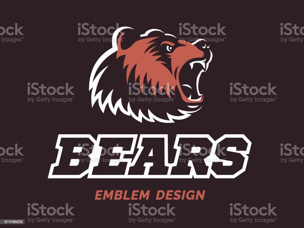 Bears logo - vector illustration, emblem design on brown background