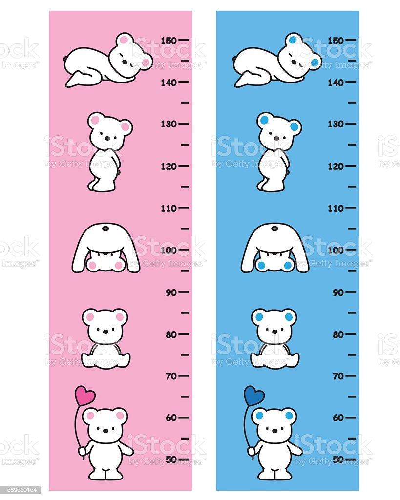 Bears meter wall vector art illustration