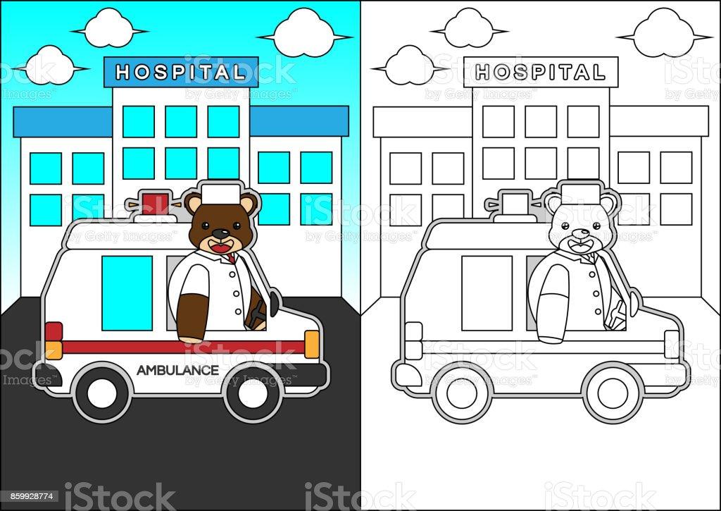 Kitap Veya Sayfa Boyama Icin Bir Ambulans Karikatur Surme Ayilar