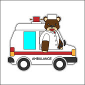 Kitap Veya Sayfa Boyama Için Bir Ambulans Karikatür Sürme Ayılar
