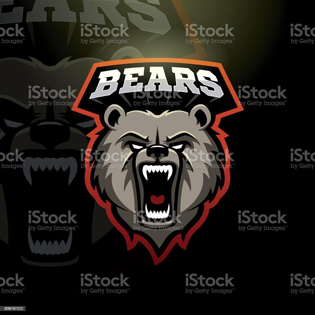 Bears sport sign vector art illustration