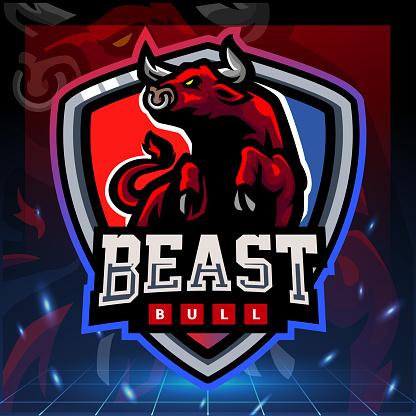 Beast bull mascot. game symbol design