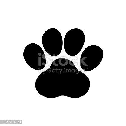 beast footprint icon on white background, vector illustration