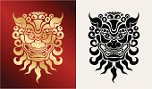 Head of  the beast in oriental style in two variants.