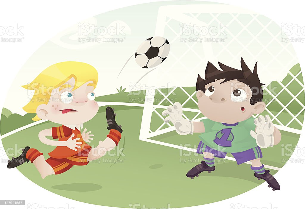 Beat the Goalie! vector art illustration