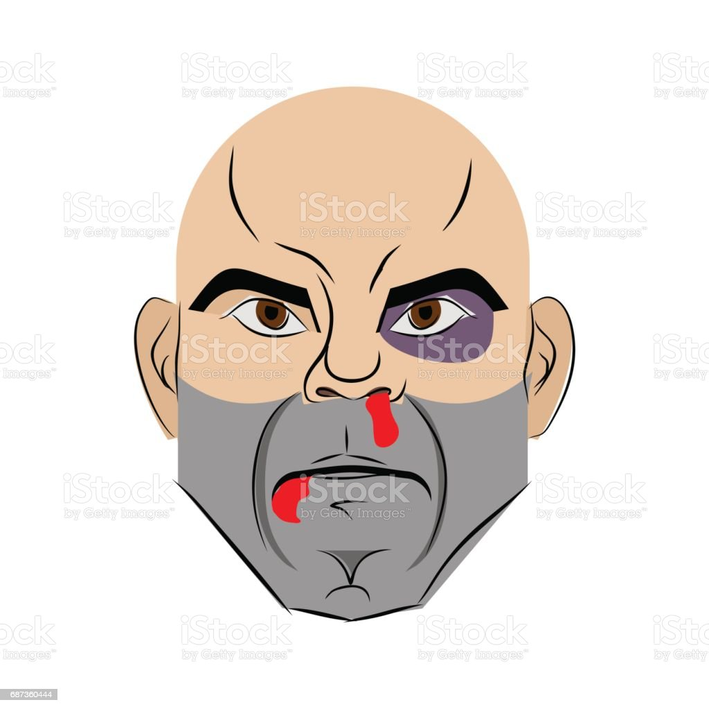 Beaten face. Blood from nose and black eye. Tattered guy head vector art illustration