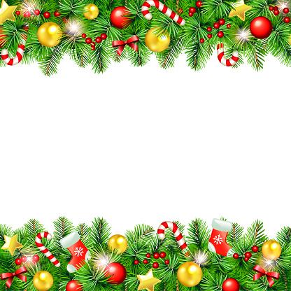 Beatiful Christmas Garland Greeting Card - Illustration