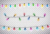 Beatiful Christmas Lights on Transparent Background