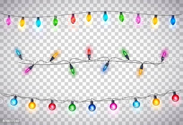 투명 한 배경에서 아름 다운 크리스마스 조명 12월에 대한 스톡 벡터 아트 및 기타 이미지