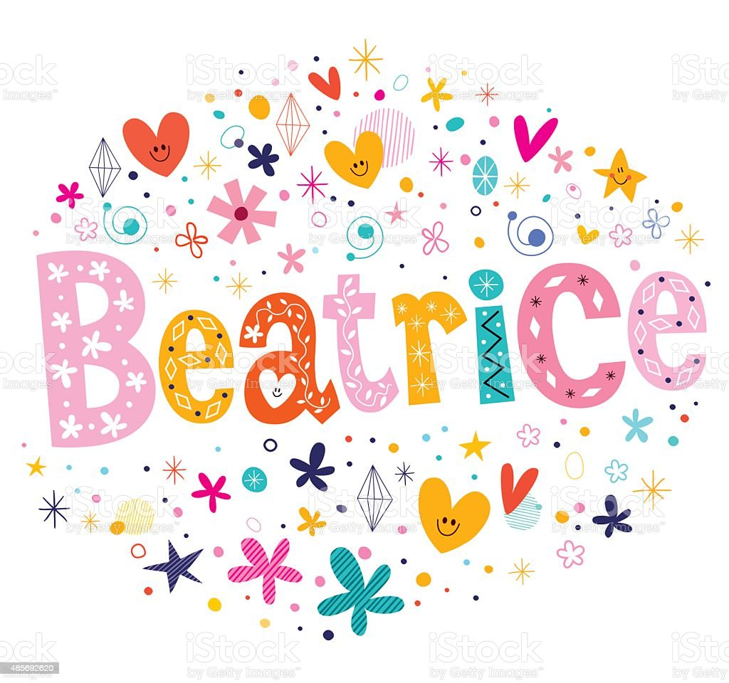 Beatrice Girls Name Decorative Lettering Type Design Stock