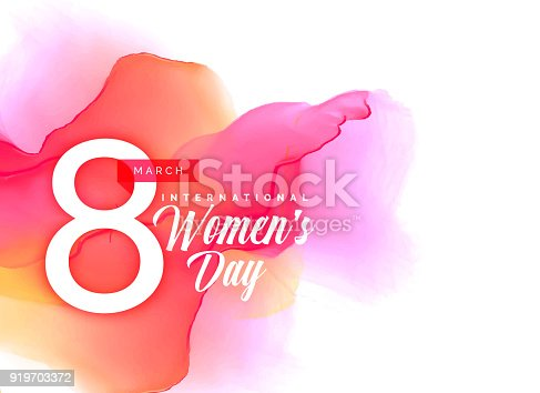 istock Beauful women's day background with vibrant watercolor effect 919703372