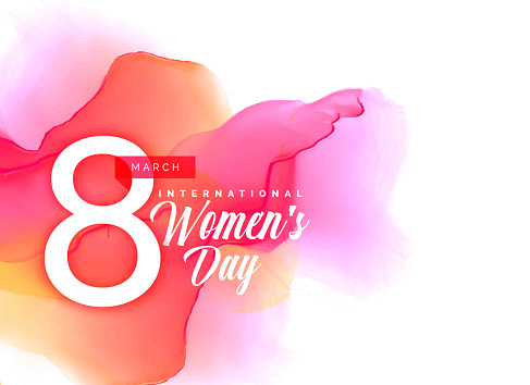Beauful women's day background with vibrant watercolor effect clipart
