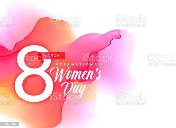 Beauful Womens Day Background With Vibrant Watercolor Effect - Stockowe grafiki wektorowe i więcej obrazów Akwarela
