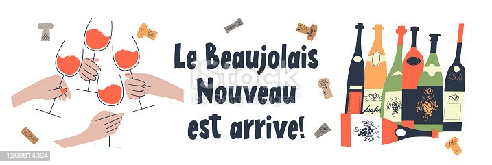 istock Beaujolais Nouveau has arrived, the phrase is written in French. Vector illustration. 1269814324