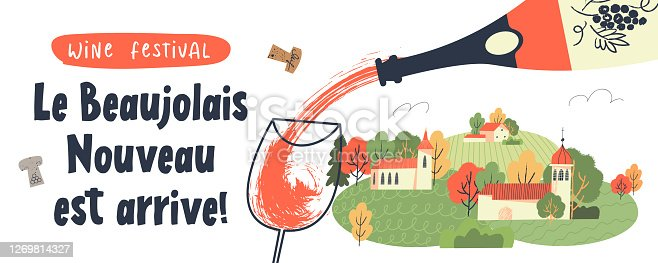 istock Beaujolais Nouveau has arrived, the phrase is written in French. Vector illustration. 1269814327