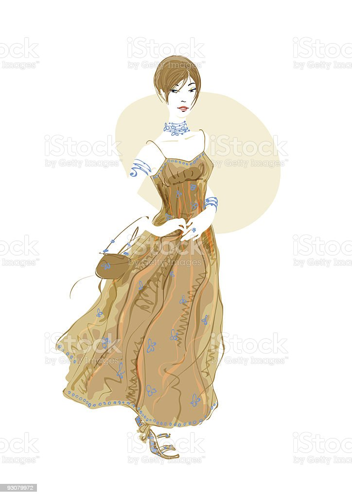 Beautful posing girl in long dress vector art illustration