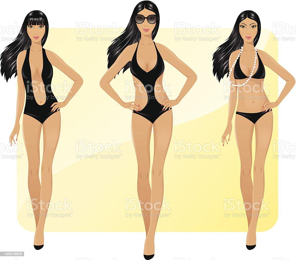 Schönheiten in bikini – Vektorgrafik