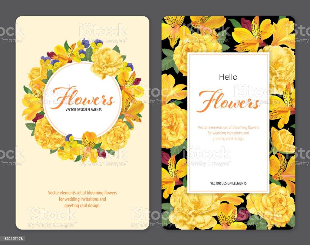 Beautifu alstroemeria lily flores rosas en la plantilla de fondo negro y amarillo. - ilustración de arte vectorial