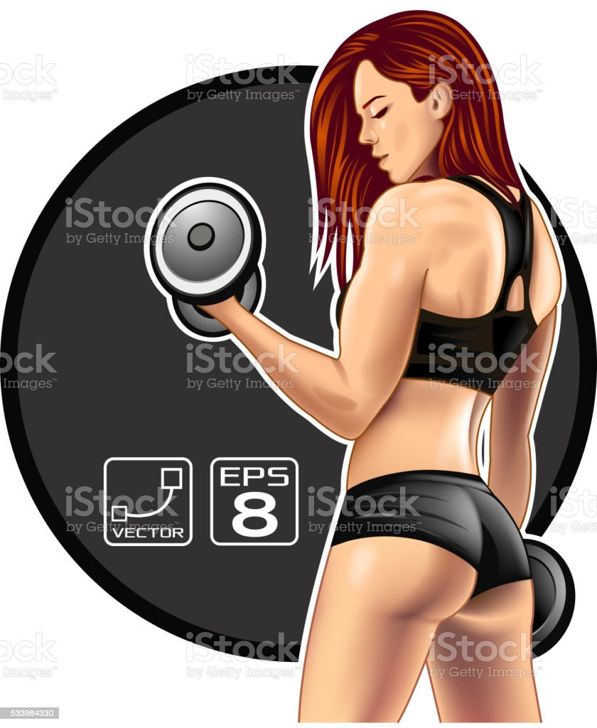 Beautifu fitness woman vector art illustration