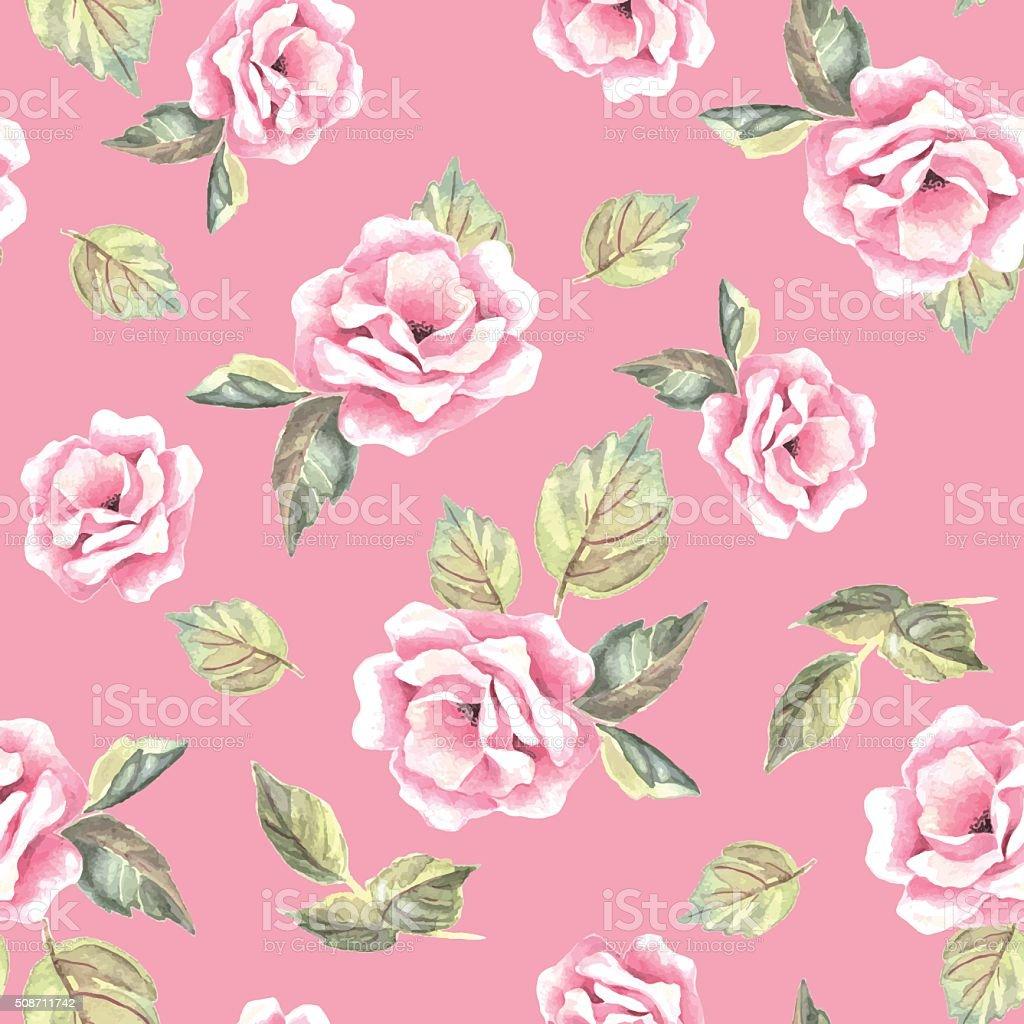 おしゃれ 手描きの花水彩バックグラウンド花のベクトルパターン 24