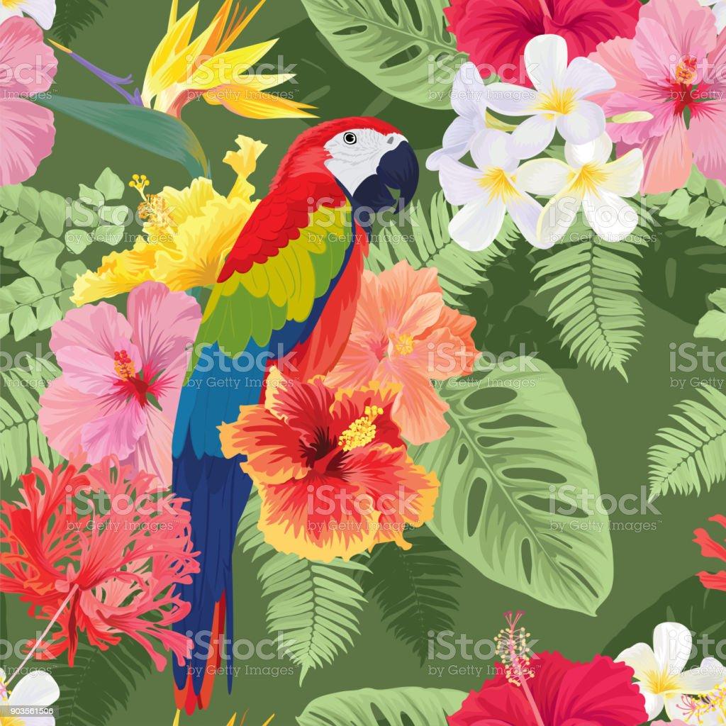 おしゃれハイビスカス syriacus 花と緑の背景のコンゴウインコ の