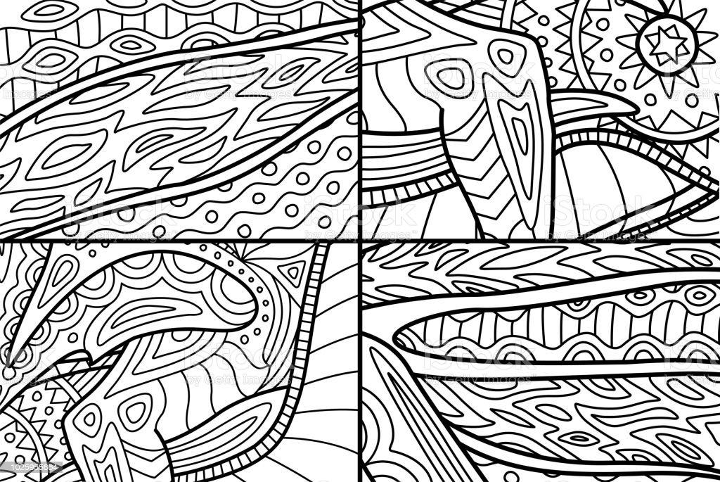 Boyama Kitabi Sayfalari Icin Guzel Soyut Desenler Stok Vektor