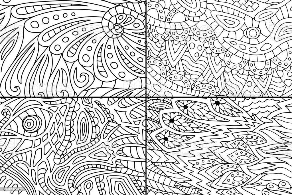 Ilustración de Hermosos Patrones Abstractos Para Colorear Libro y ...