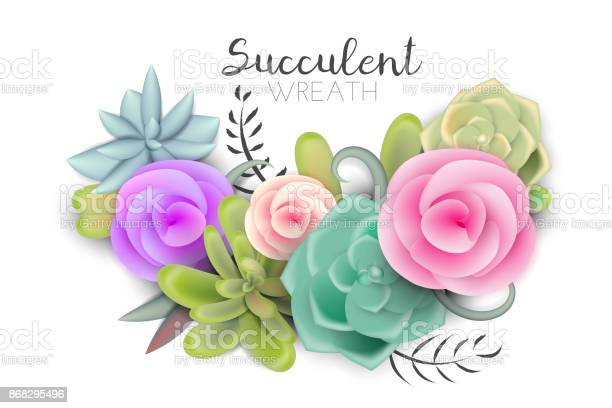Beautiful abstract succulent cactus wreath with flowers vector id868295496?b=1&k=6&m=868295496&s=612x612&h=ptn2j7 uwmwdra6paotvogdug4uvrtfj9howq3oytzy=