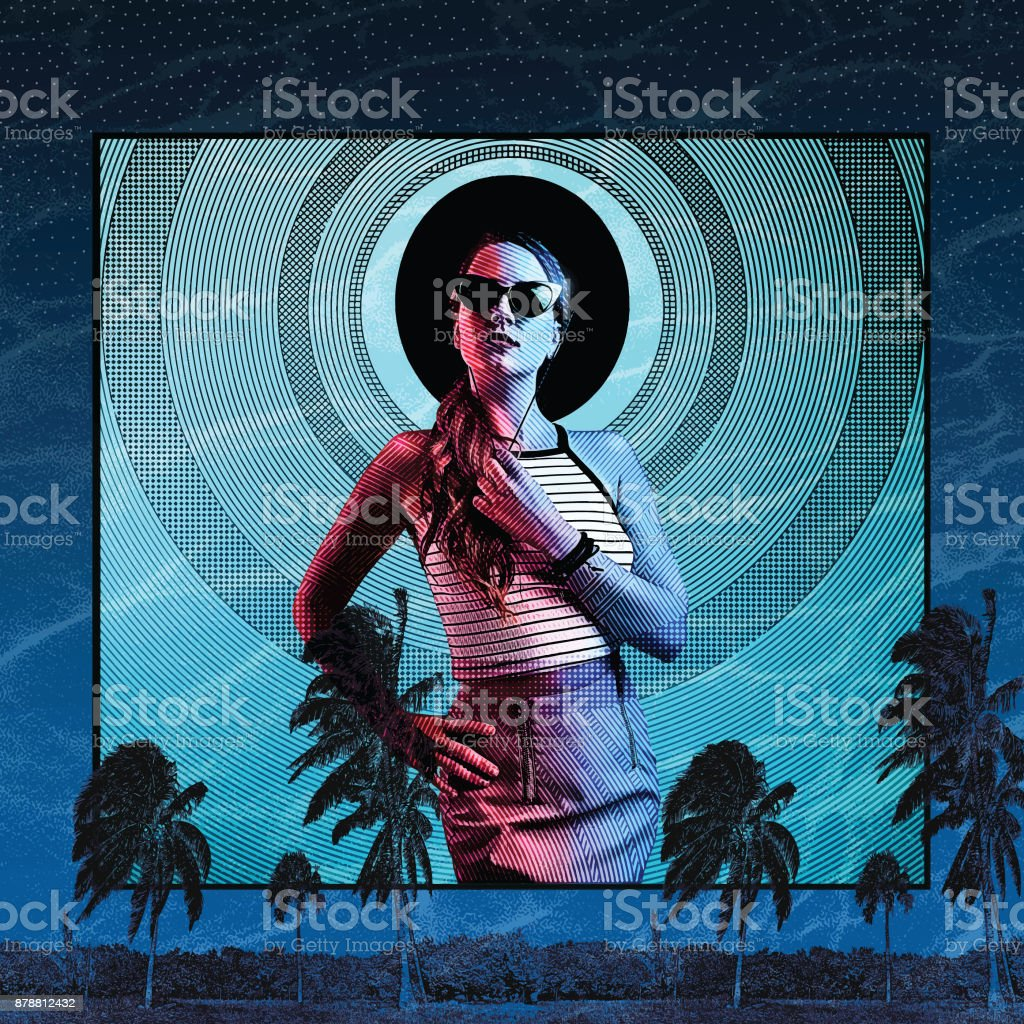Beautiful adult woman with colorful caribbean background. vector art illustration