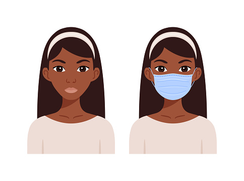 Beautiful African American Black woman wearing a medical mask on her face. Young girl without a surgical mask.Quarantine. Avatar.Flat color cartoon fashion style.White background.Vector illustration.